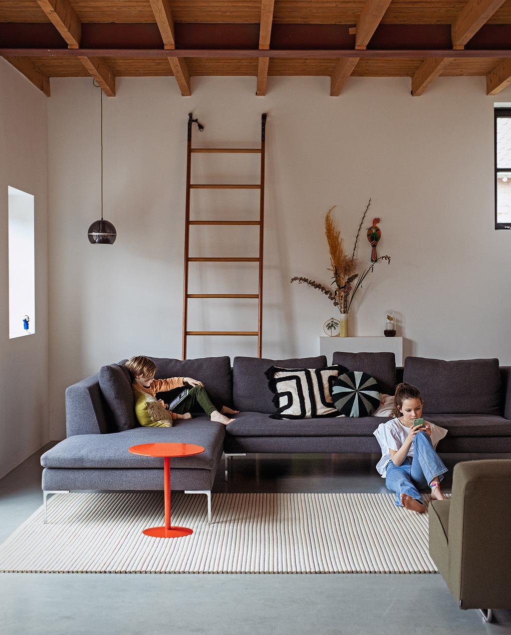 vtwonen 03-2021 | grijze hoekbank in woonkamer ladder tegen muur