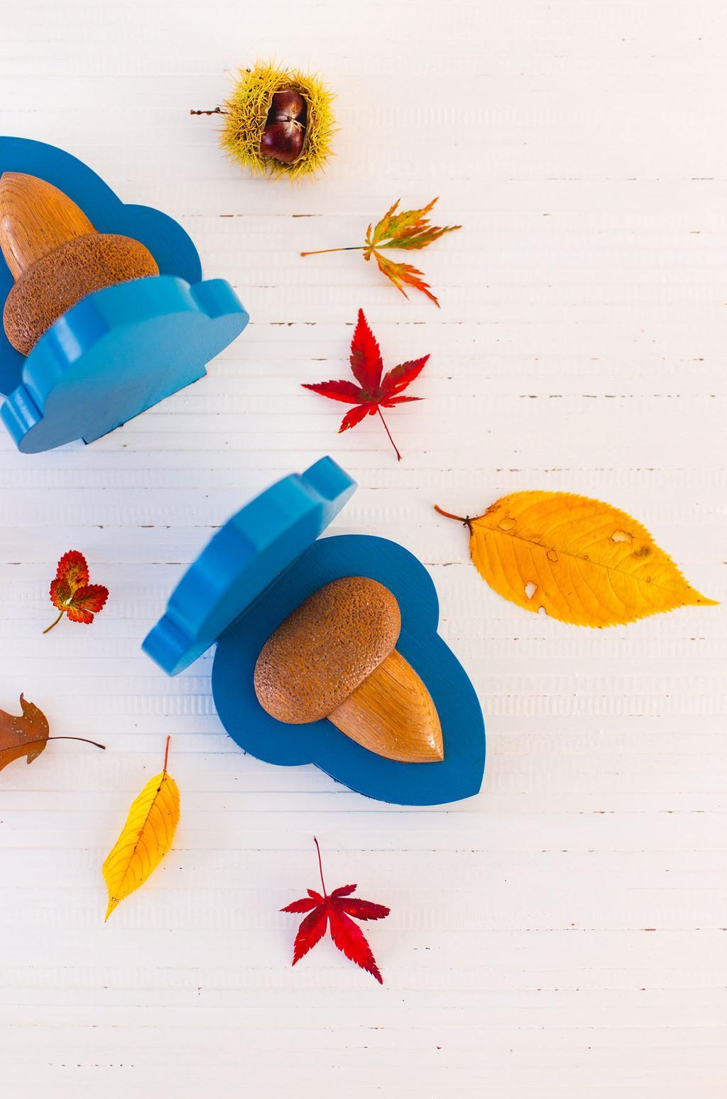 Blauwe boekensteunen met herfst eikels door blogger Oh Marie!