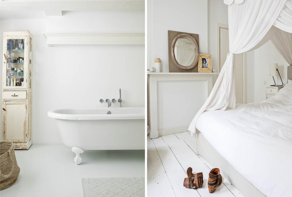 vtwonen binnenkijken in een witte badkamer en witte slaapkamer