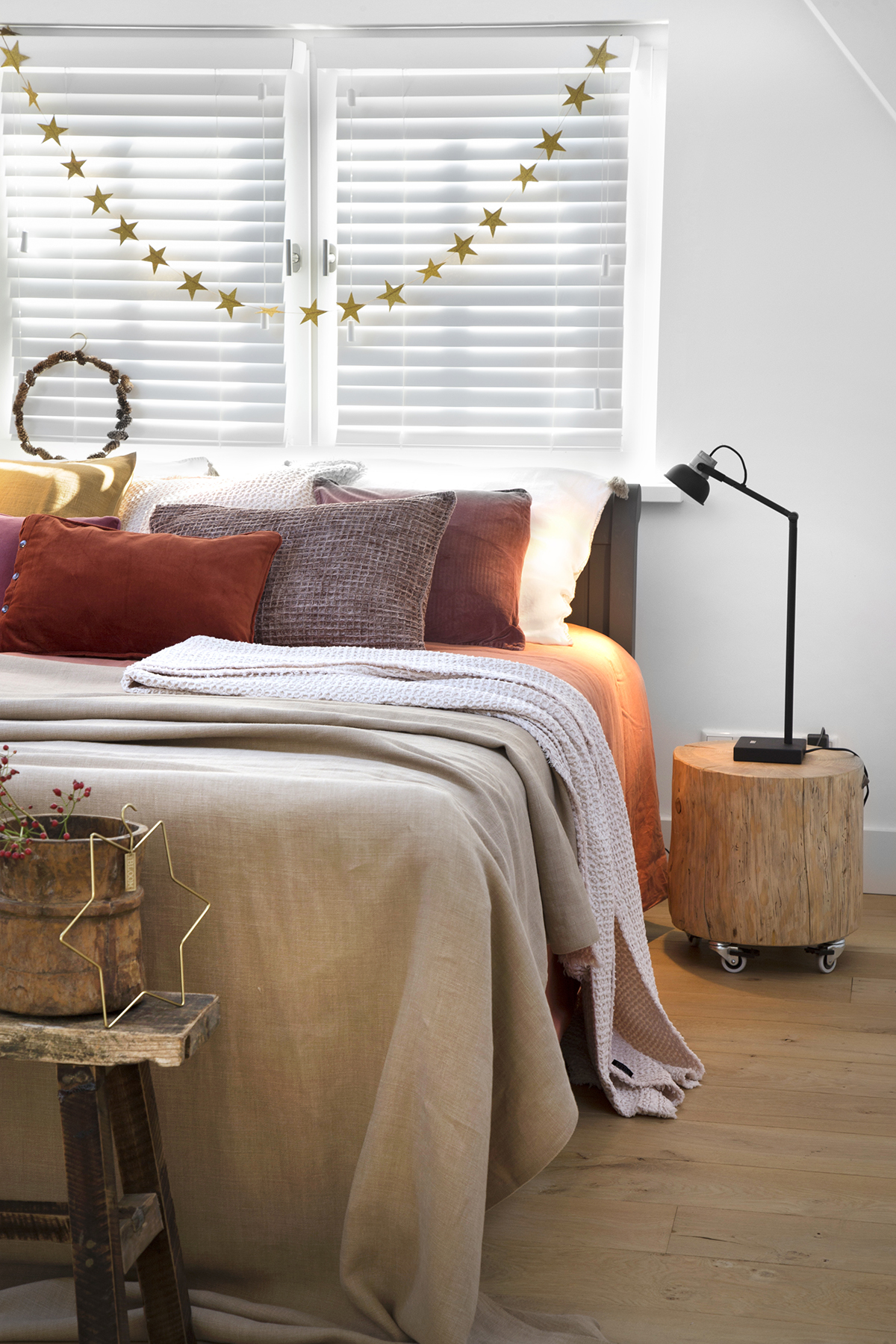 goud kerst slinger slaapkamer