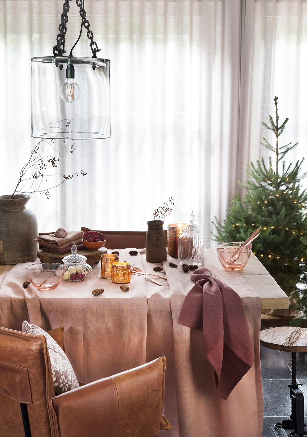roze kerst eettafel plaids
