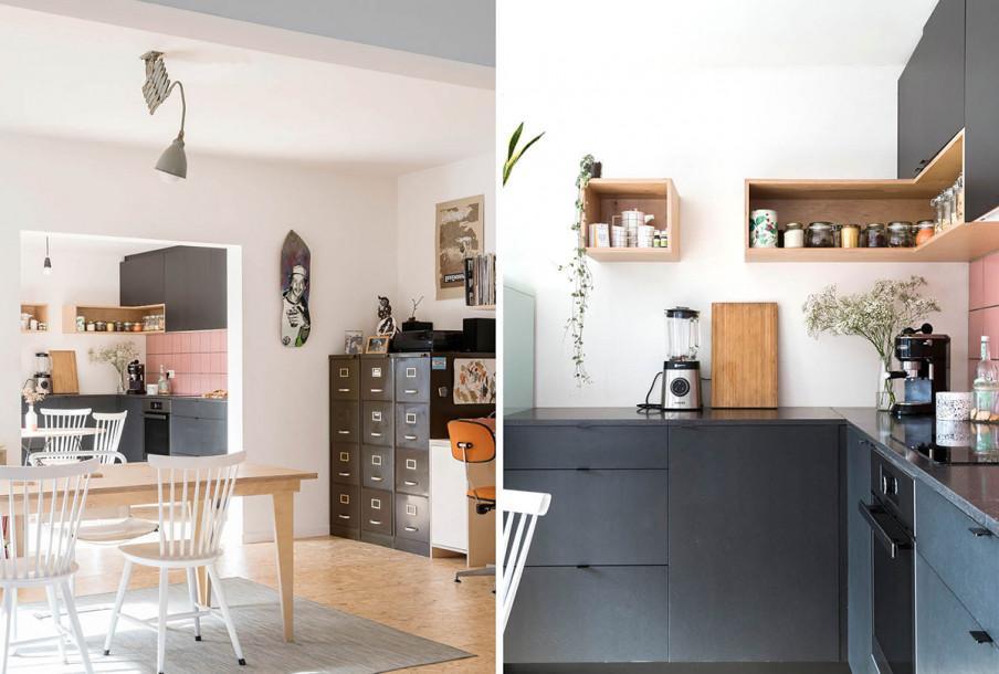 Coin a manger avec armoire a casiers et meubles cuisine en noirs