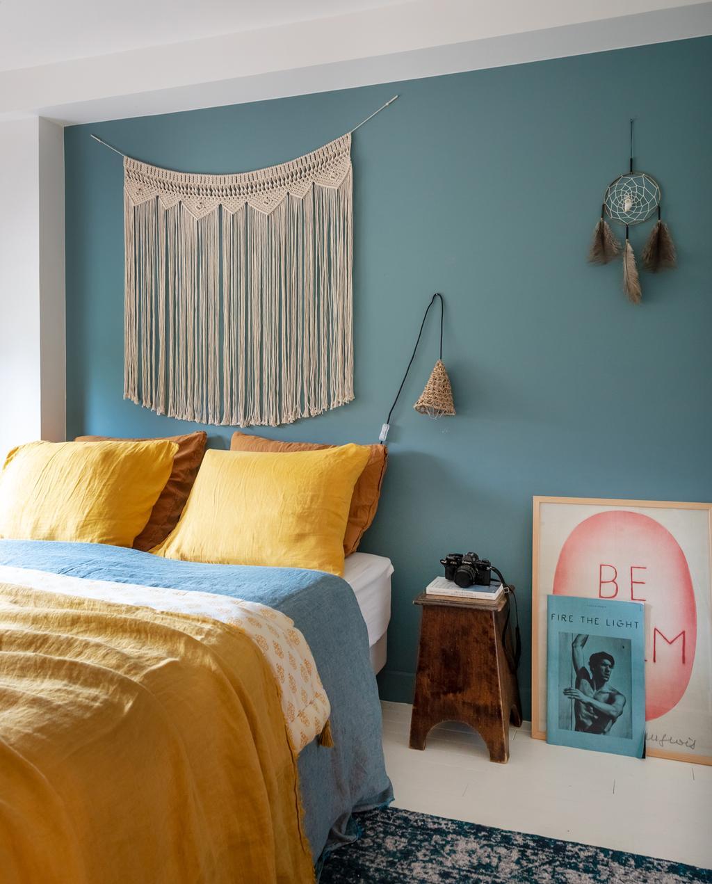 vtwonen 2-2020 | slaapkamer blauw geel