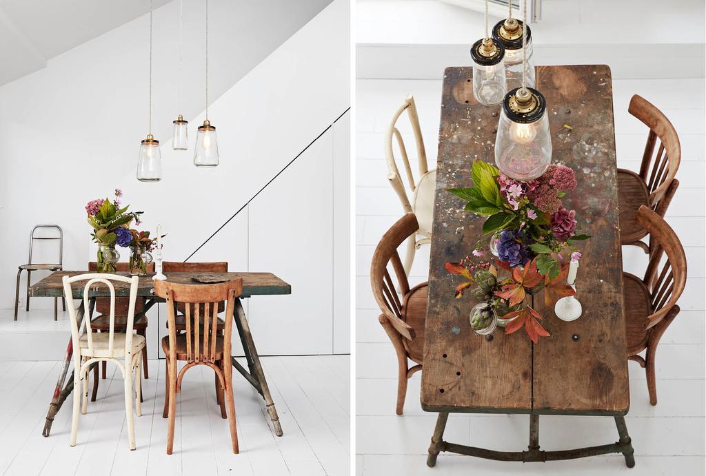 Vintage eettafel voor vier personen met bistro stoelen