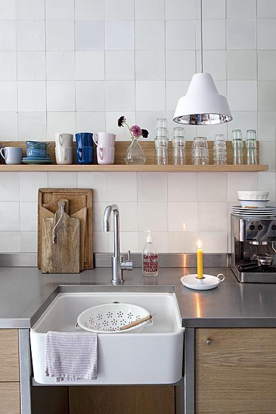 hout, wit en rvs keukenblad