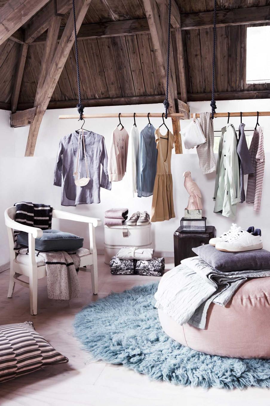 Barre vêtements bois