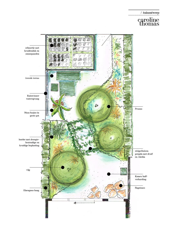 vtwonen tuinspecial 2 2020 | tuinontwerp schets Caroline Thomas