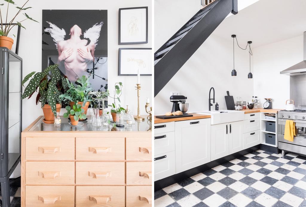 Binnenkijken in de zwart-wit keuken van een jaren 70 huis in Zwolle.