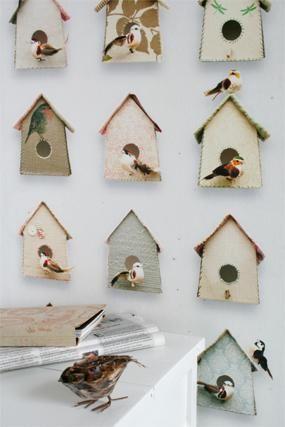 Behang Vogelhuisjes van Studio Ditte (detailafbeelding)