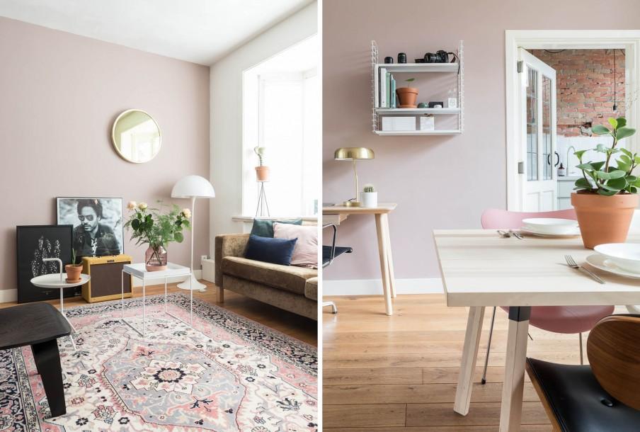 Salon et table a manger avec mur rose