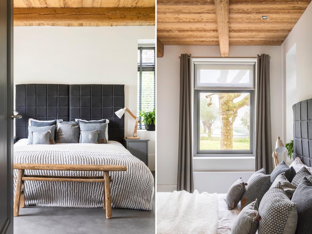 bk 5 grijze slaapkamer met zwart en hout