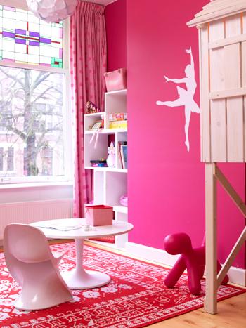roze stickers meisjeskamer