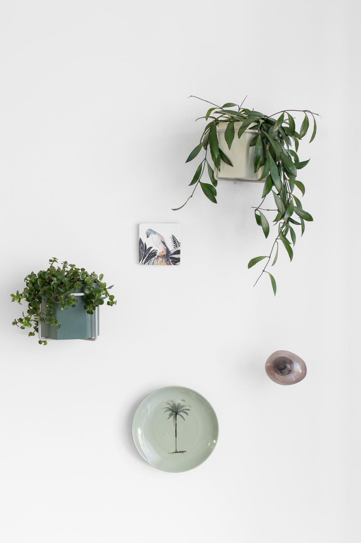 Groene muurdecoratie in het voorjaarshuis van blogger Tanja