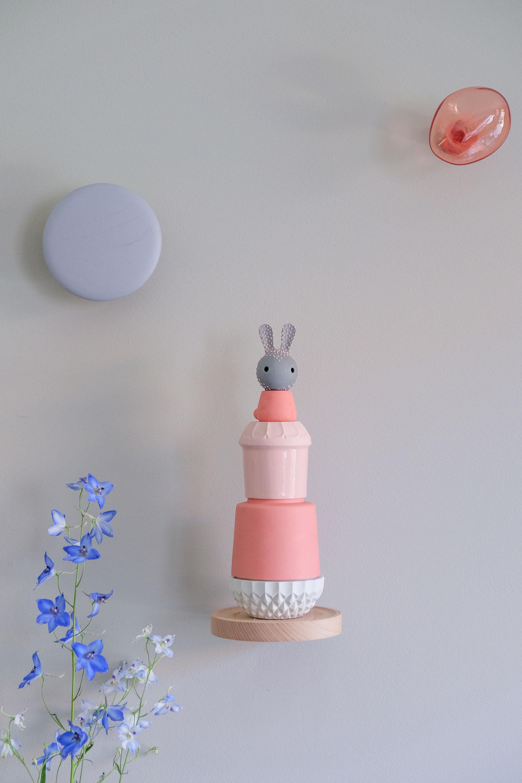 Muurdecoratie roze konijn