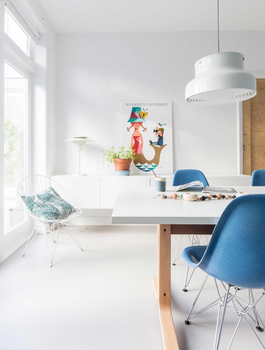 chaises bleu blanc