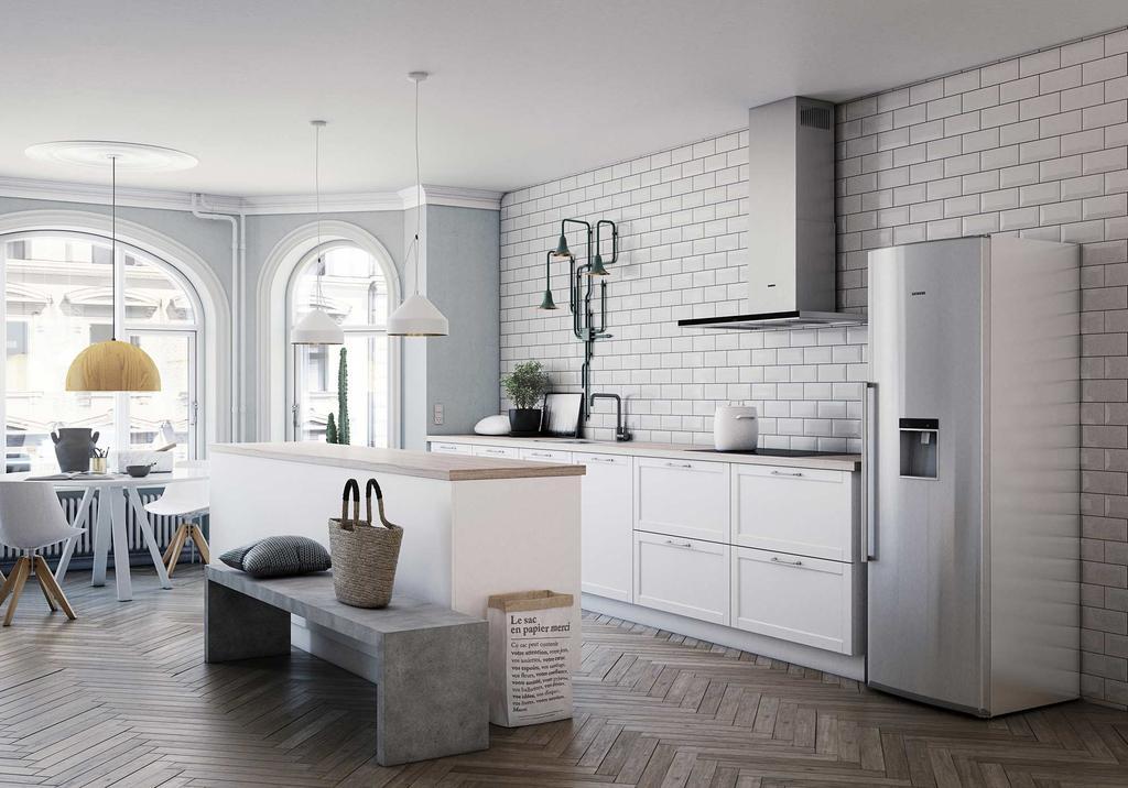 Witte keuken met kookeiland Siemens KVIK