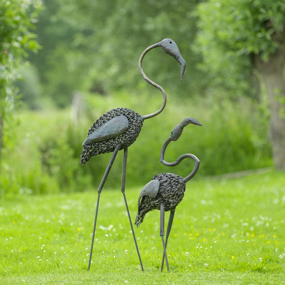 Metalen flamingo's