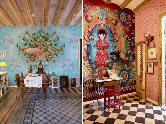 Kleurrijk behang van Catalina Estrada