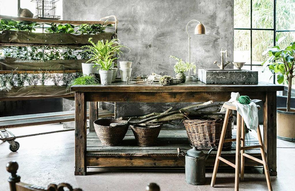Groene oase met vintage broodkar en plantentafel