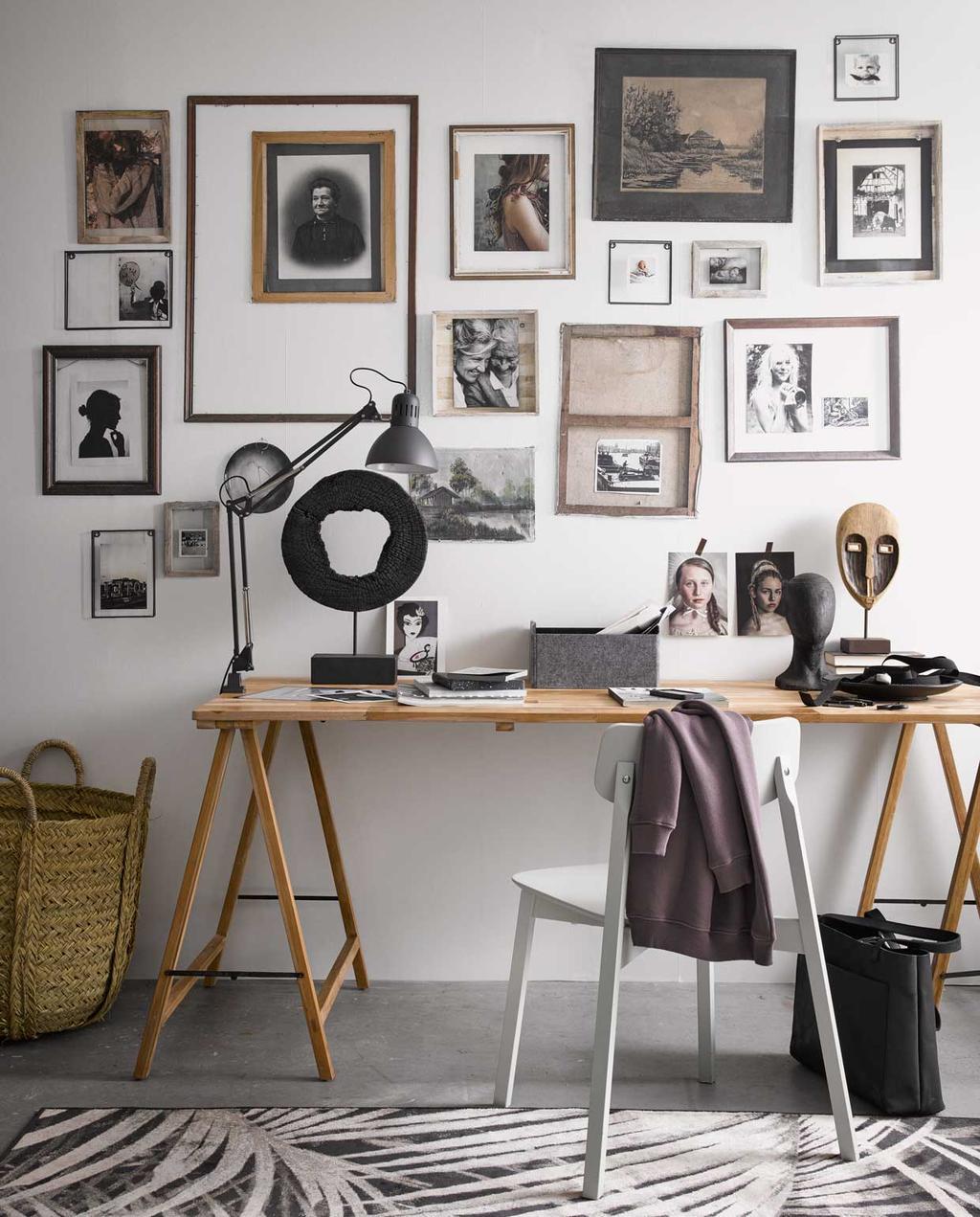 huis persoonlijk maken | gallery wall | art wall | fotomuur | werkplek | fotolijsten | schragen | bureau