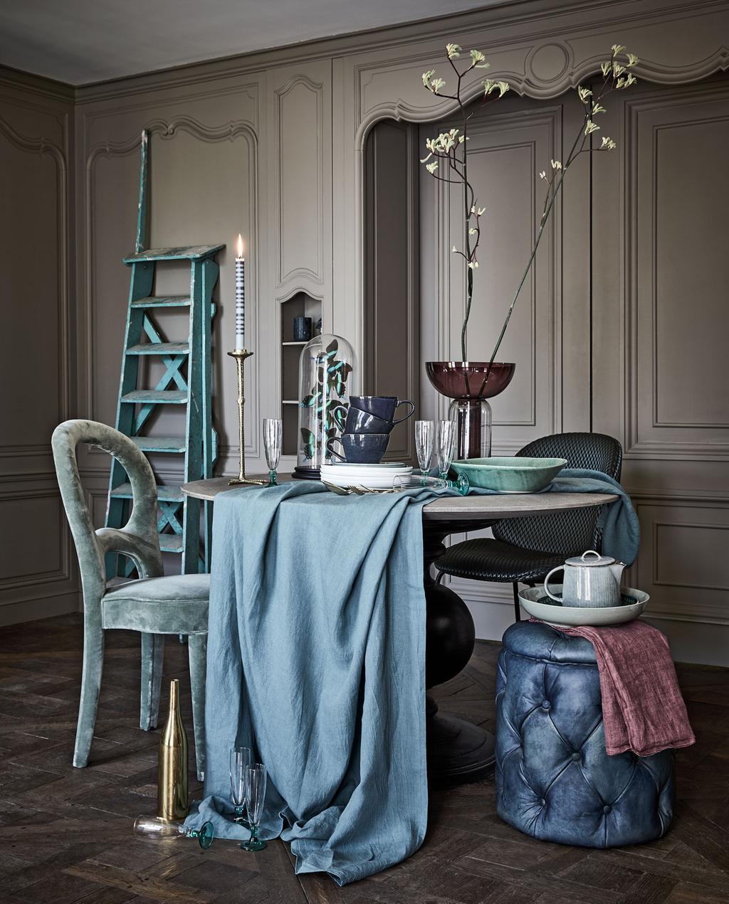 vtdéco - inspiration 2020 - table ronde tissu bleu
