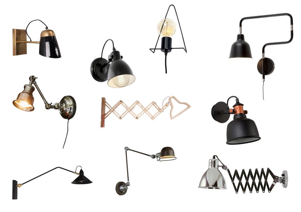 collage industriele wandlampen
