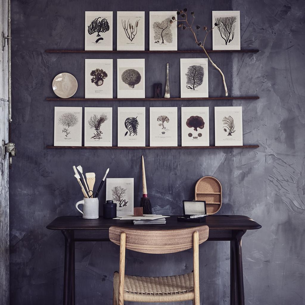 Zelfgemaakte zwart-wit kunst en prints aan de muur