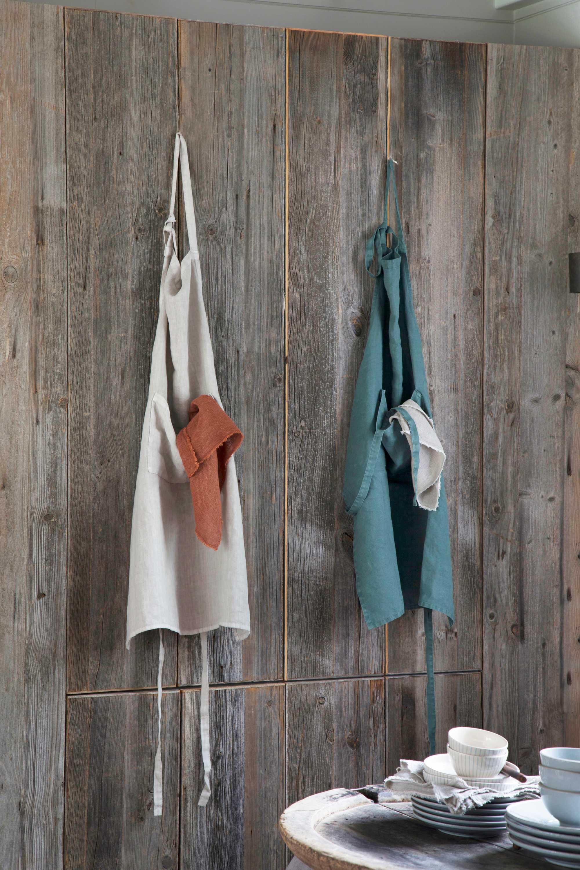 wonen landelijke stijl by j-line keukenschort linnen grijs groen roestrood