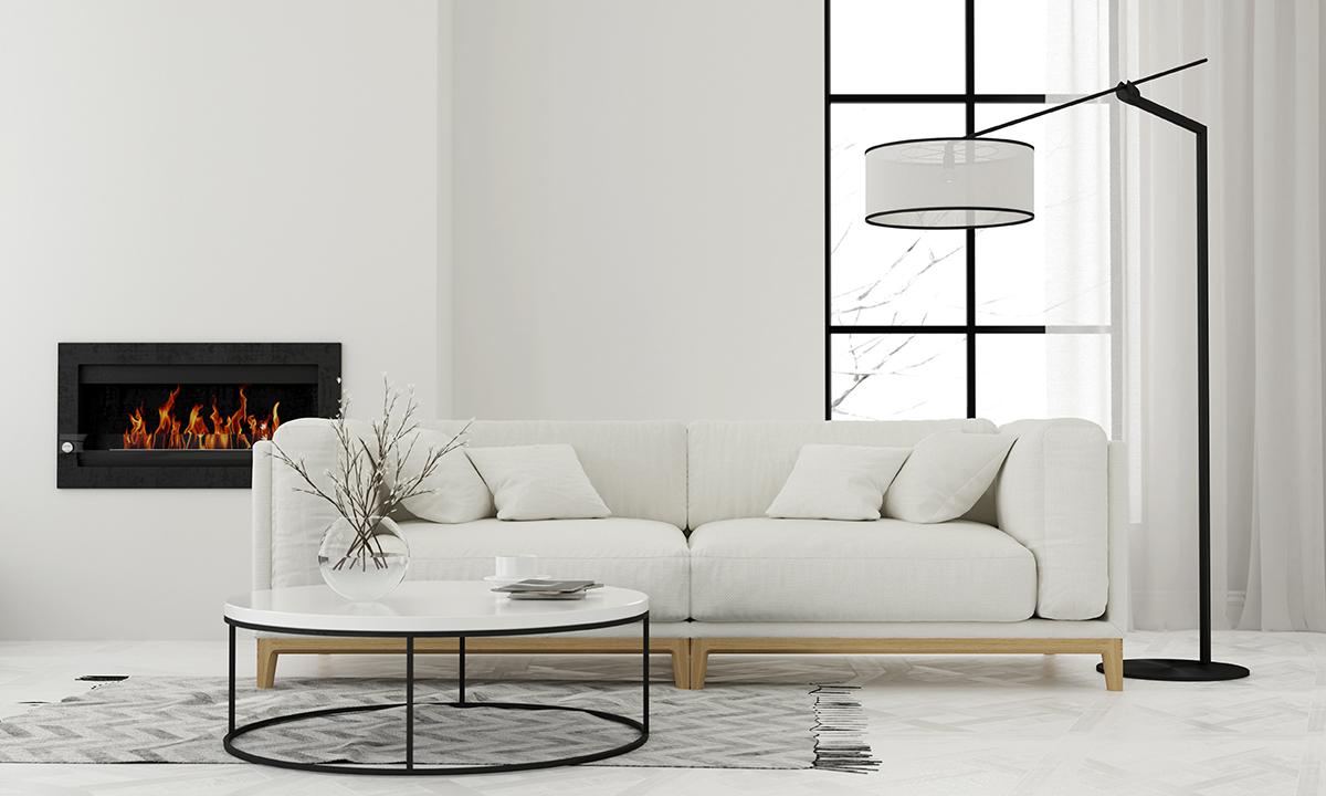 luxe woonkamer bank tapijt gordijnen Busch Jaeger