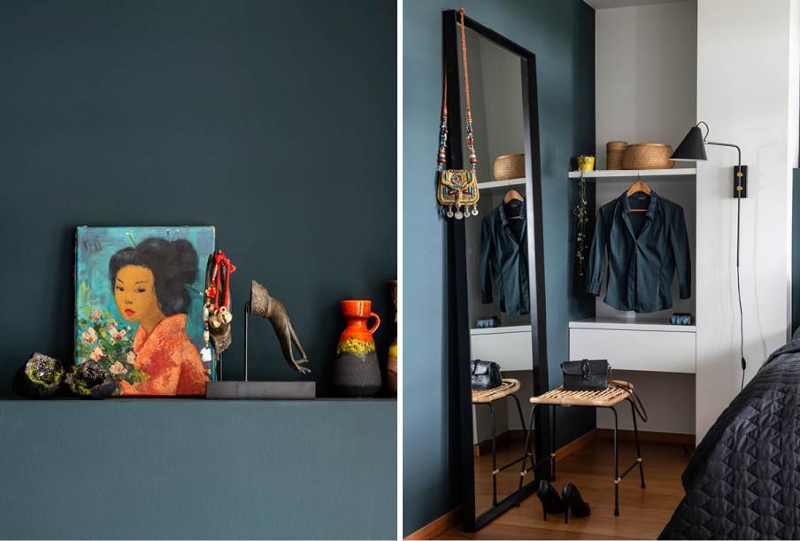 chambre miroir et tabouret