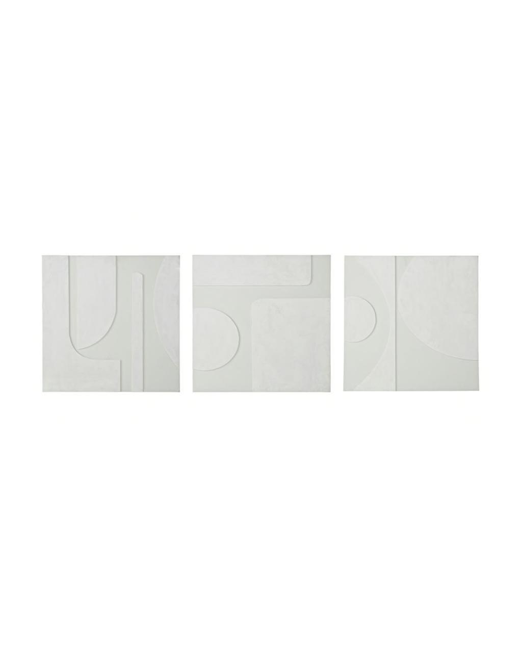 vtwonen juli 2021   3 abstracte witte schilderijen