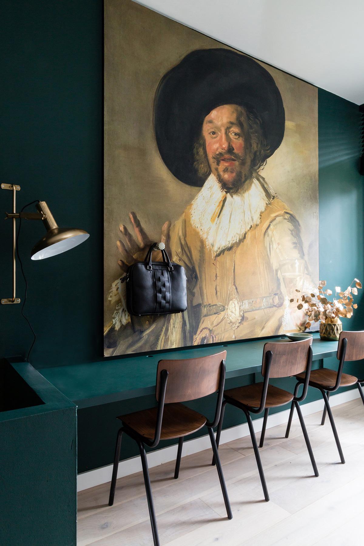 groen interieur schilderij Histor