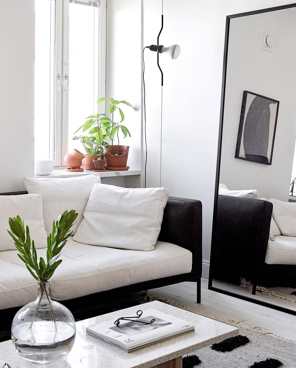 vtwonen special tiny houses | grote spiegel naast zwart witte bank