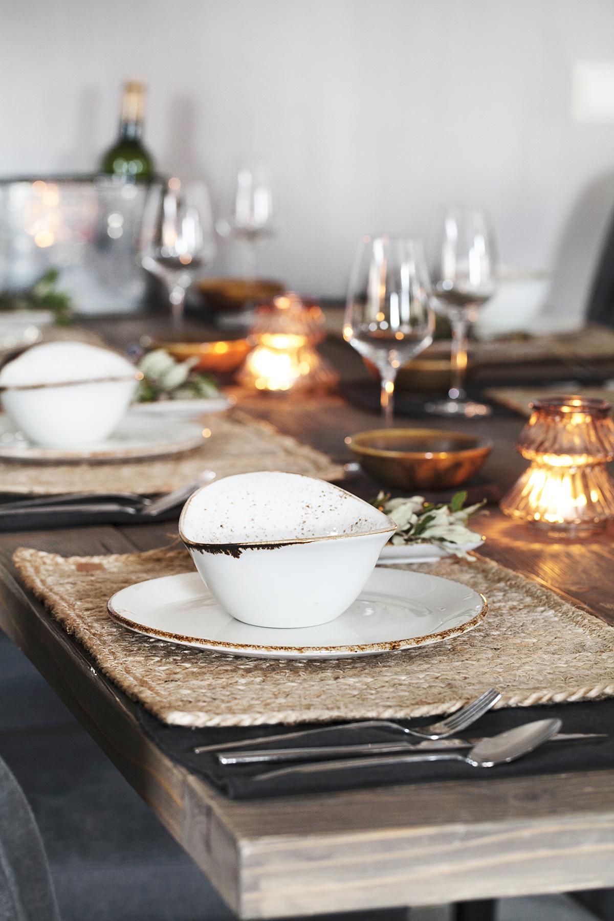 kerst bordschikking wit bruin