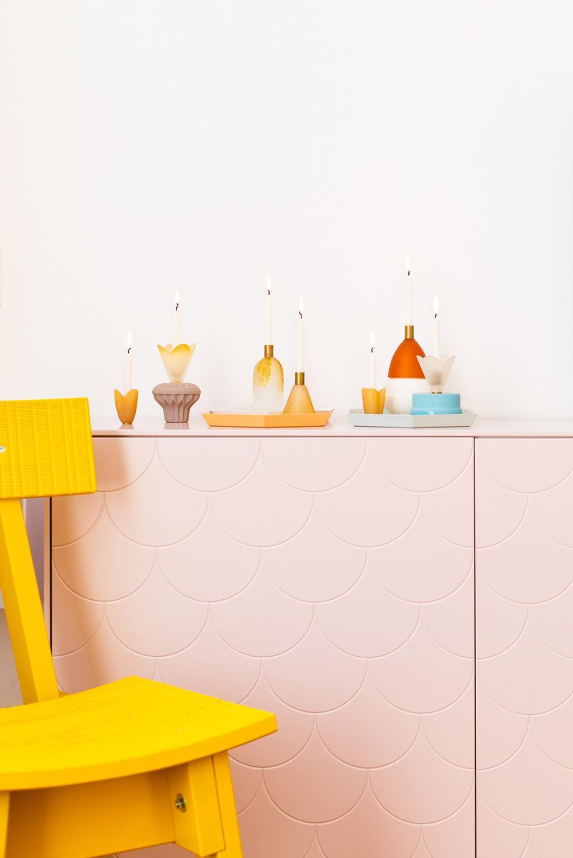 Messing kaarsenhouders van vintage lampenkap door blogger Oh Marie!