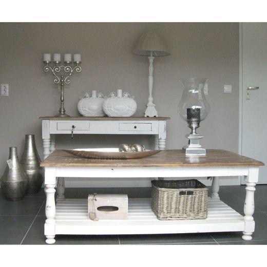 brocante witte tafel en salontafel
