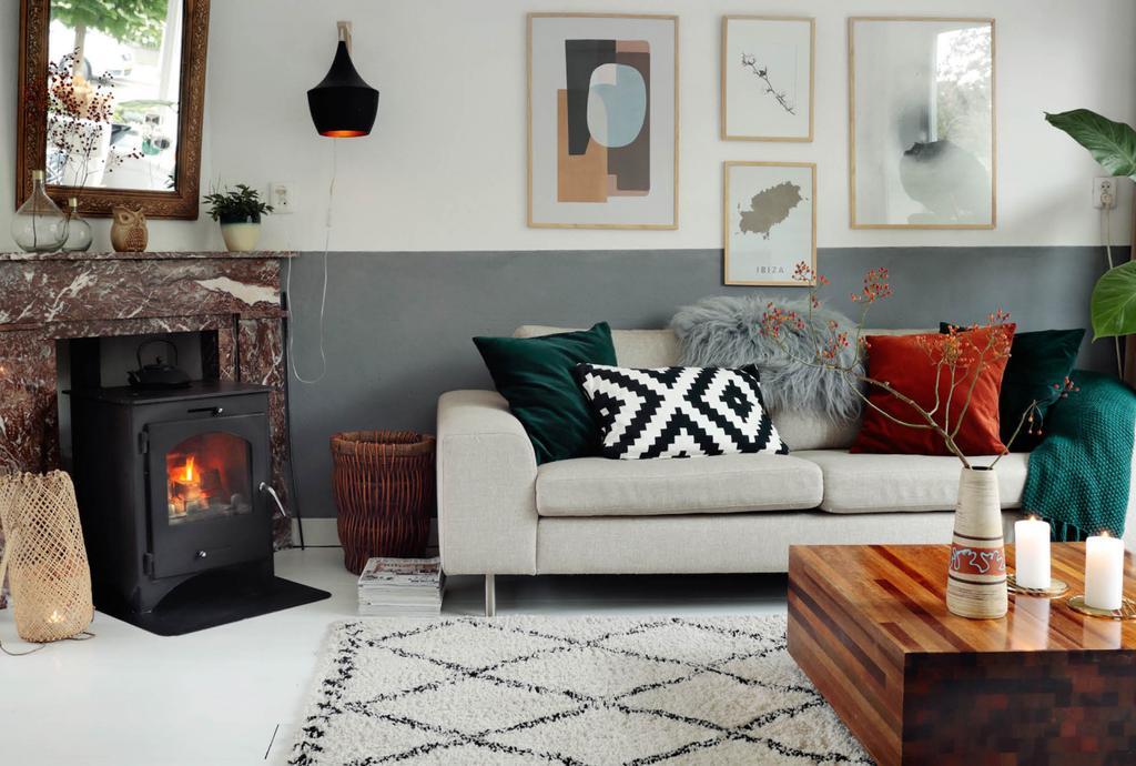 Salon avec poêle et cheminée.