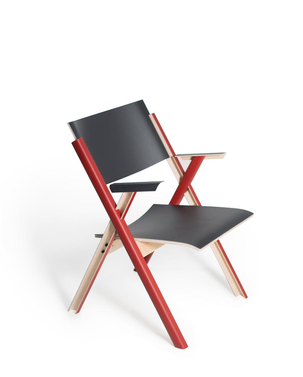 zwart met rode stoel van linoleum