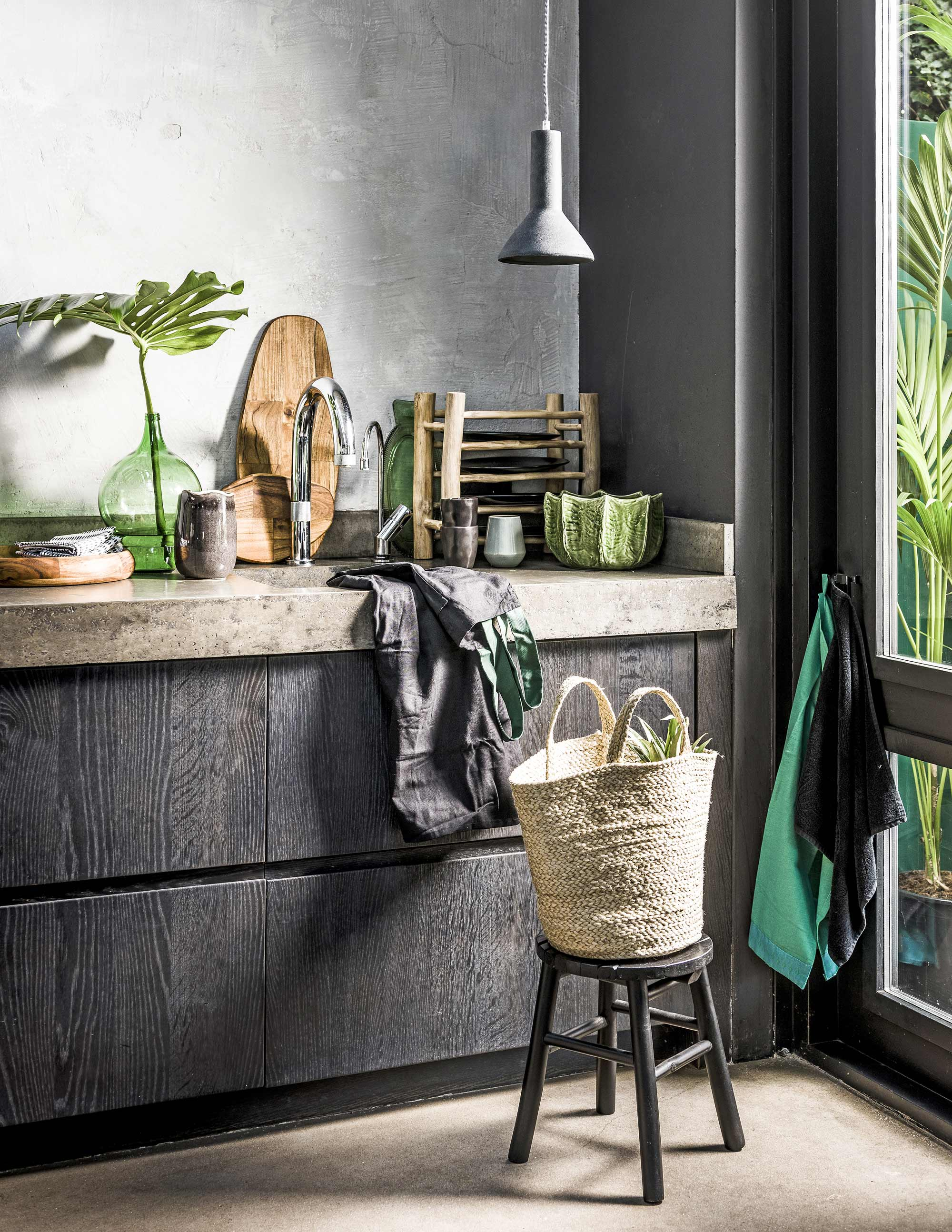 jungle keuken zwart groen