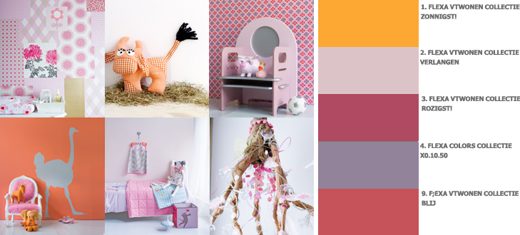 Kinderthema Pinky Orange - stoere meisjeskamer