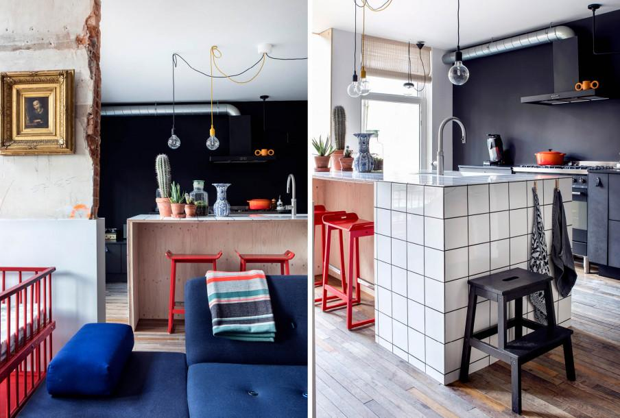 Bar cuisine et ancien mur