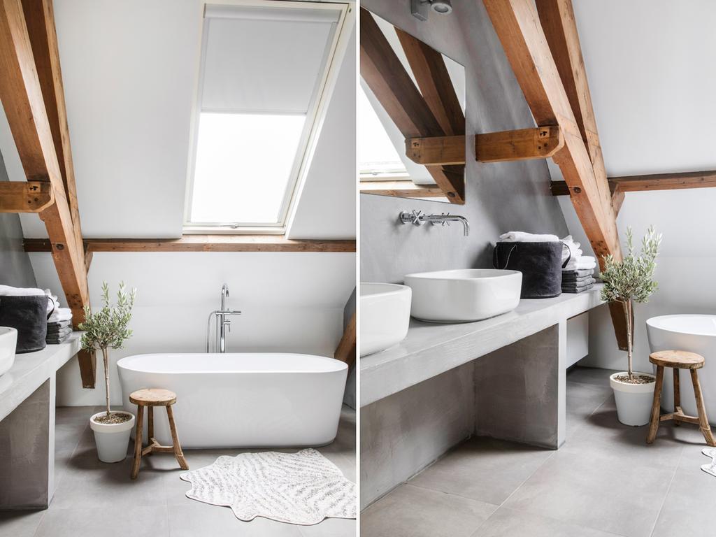 bk 4 grijze badkamer met hout en bad en lavabo