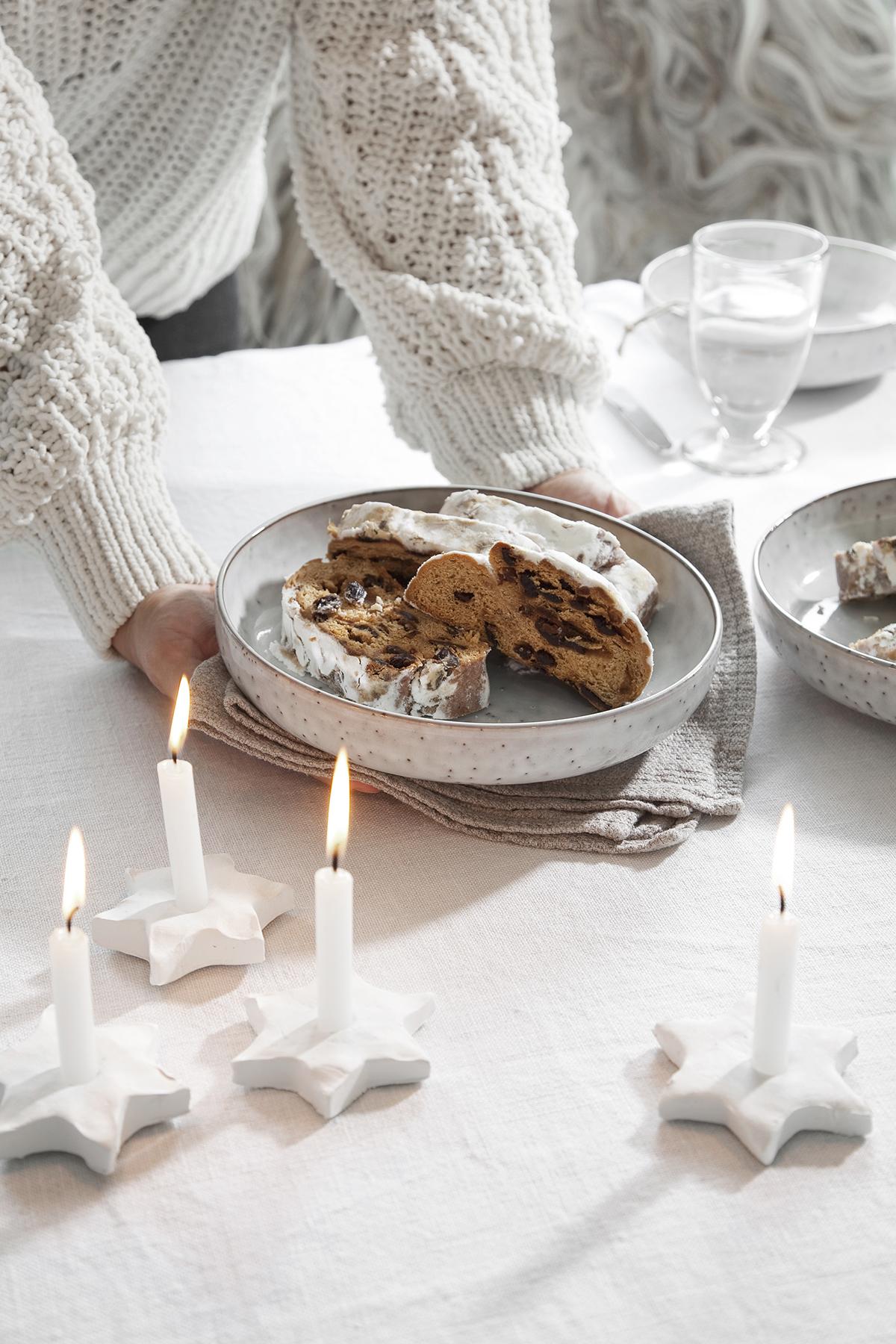 witte kerst kaarshouder