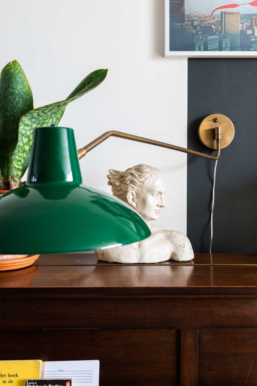 statue lampadaire vert