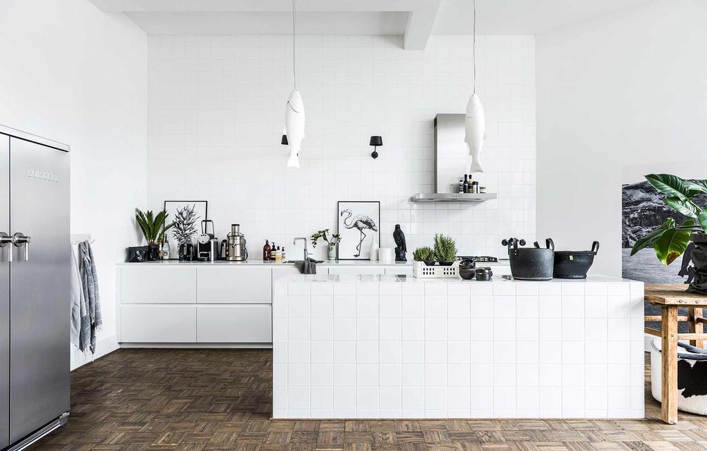 Witte keuken vis hanglampen