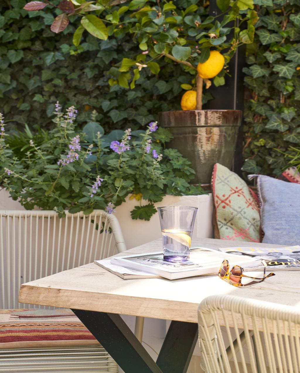 vtwonen 08-2020 | binnenkijken Arnhem tuin met eettafel en rotan stoelen