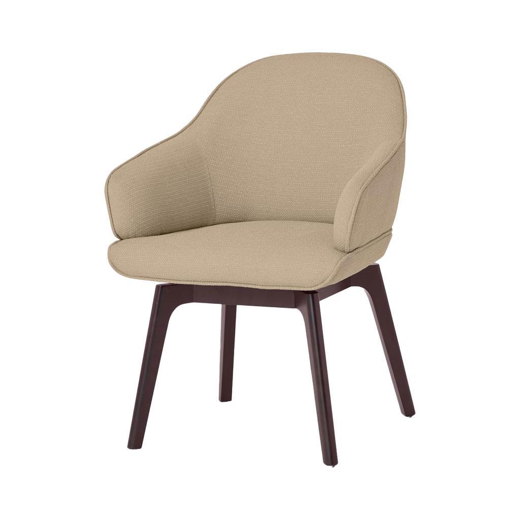 beige bureaustoel met houten poten