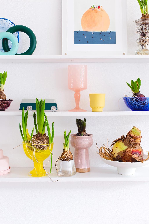 Wit vintage wandrek met bloembollen in gekleurde vintage vazen