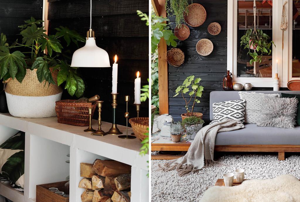 Zwarte tuinkamer met houten accessoires en loungebank