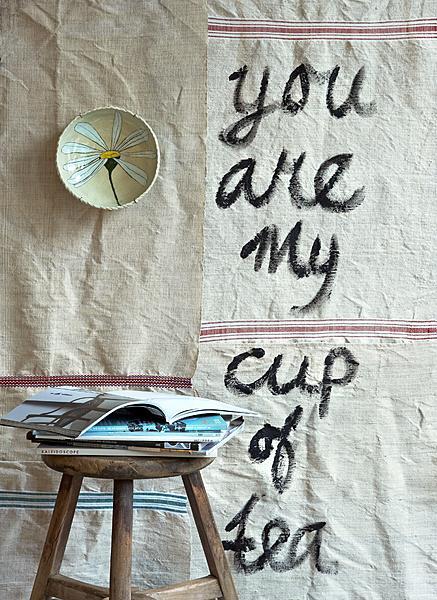 linnen doek met tekst